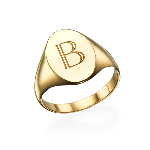 Initial Signet Ring - 18k Gold Plated
