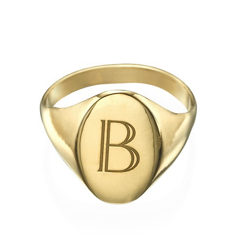 Initial Signet Ring - 18k Gold Plated - 1