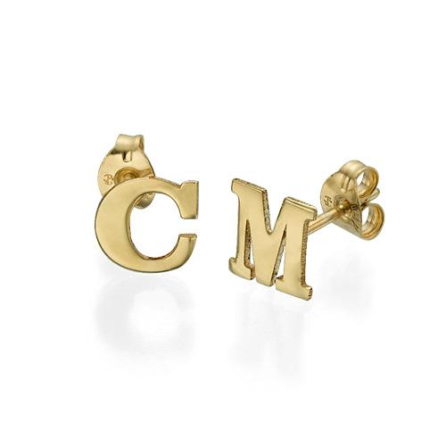 Initial Stud Earrings in 14k Solid Gold - Print