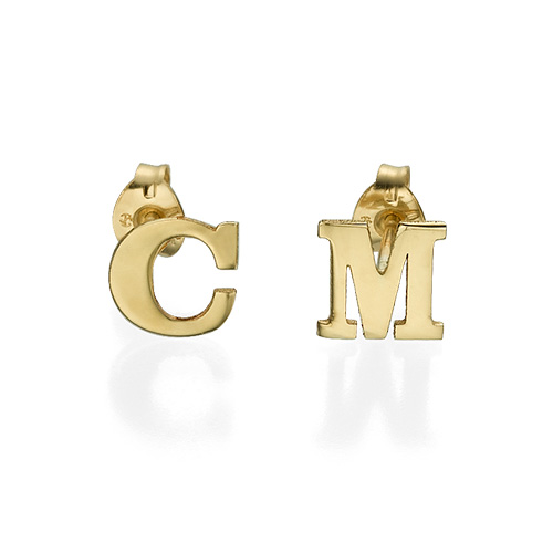 Initial Stud Earrings in 14k Solid Gold - Print - 1