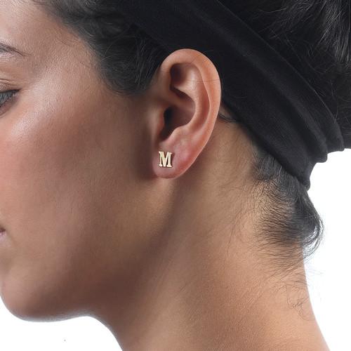 Initial Stud Earrings in 14k Solid Gold - Print - 2
