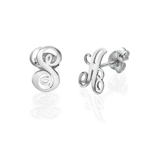 Initial Stud Earrings in Silver