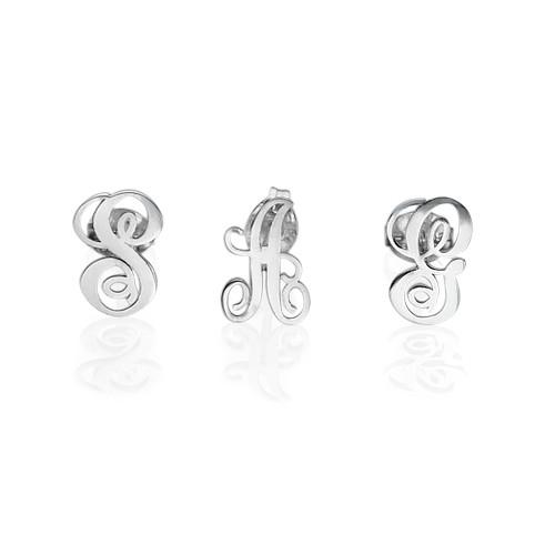 Initial Stud Earrings in Silver - 1
