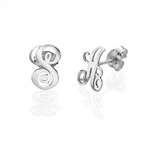Initial Stud Earrings in Silver