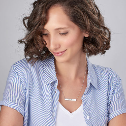 Inspirational Bar Necklace with Cubic Zirconia in Sterling Silver - 1