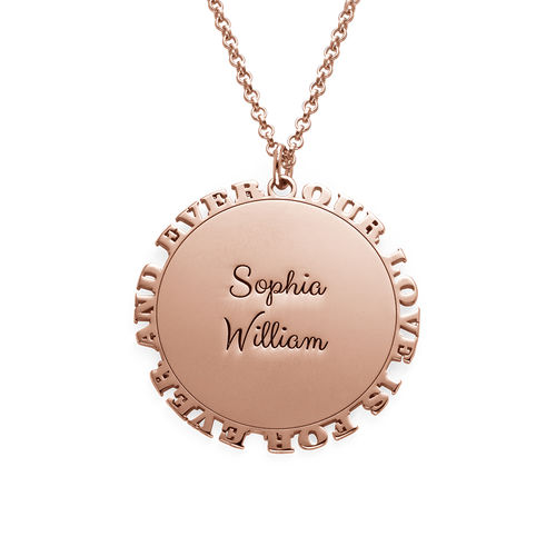 Inspirational Family Disc Necklace in Rose Gold Plating