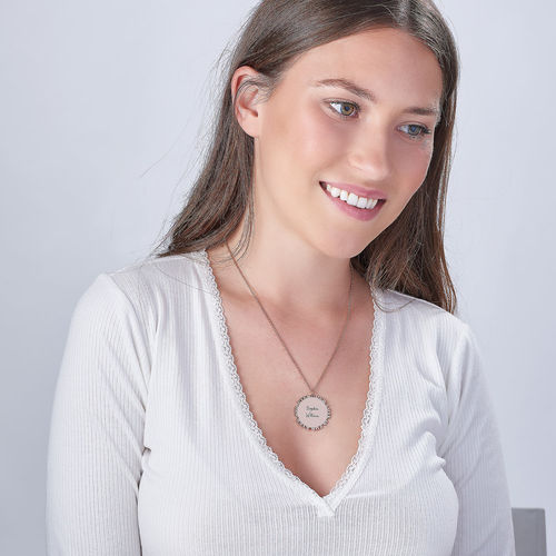 Inspirational Family Disc Necklace in Rose Gold Plating - 1