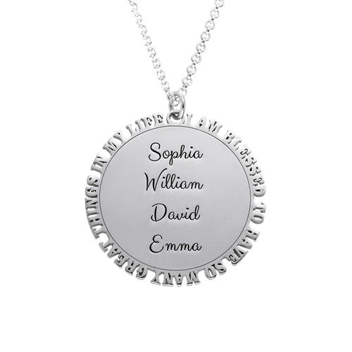 Inspirational Family Disc Necklace in Silver Sterling