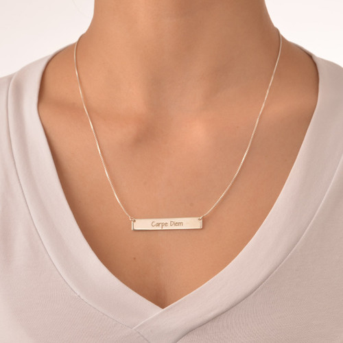 "Inspirational Jewelry - ""Carpe Diem"" Bar Necklace - 1"