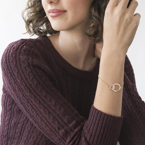 Interlocking Circles Bracelet - Rose Gold Plated - 2