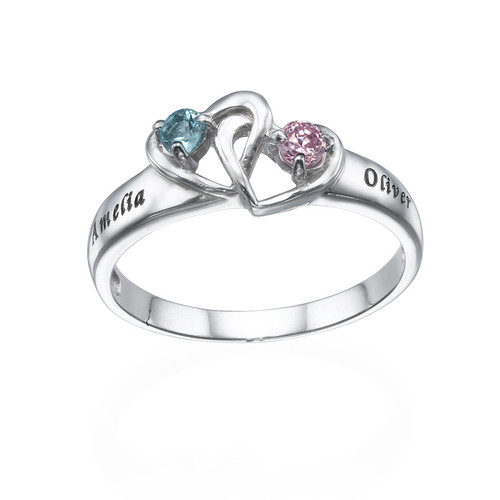 Interlocking Heart Ring With Birthstones My Name Necklace