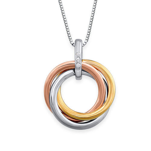 Interlocking Lovers ring necklace - Tri Color