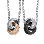 Interlocking Rings Necklace Set for Couples