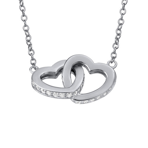 Intertwined Heart Necklace in Silver & Cubic Zirconia