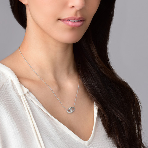 Intertwined Heart Necklace in Silver & Cubic Zirconia - 1