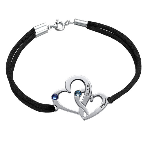 Intertwined Hearts Bracelet - Custom Colored Cord