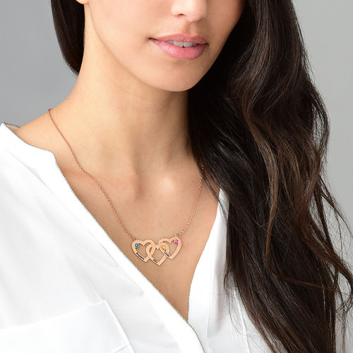 Intertwined Hearts Necklace with Birthstones - Rose Gold Plated - 2