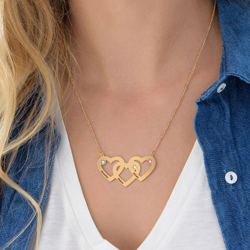 Intertwined Hearts Necklace with Birthstones in Gold Plating - 2
