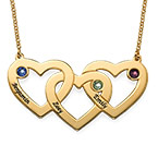 Intertwined Hearts Necklace with Birthstones in Gold Plating