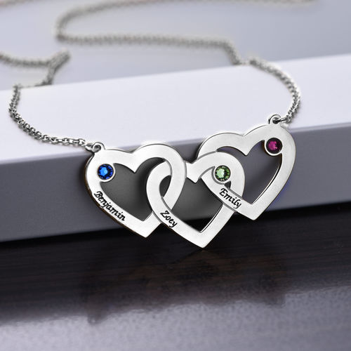 Intertwined Hearts Necklace with Birthstones - 1