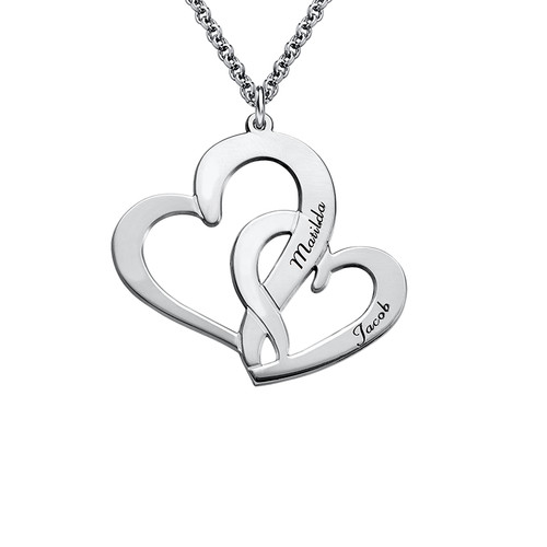 Intertwined Hearts Necklace with Engraving