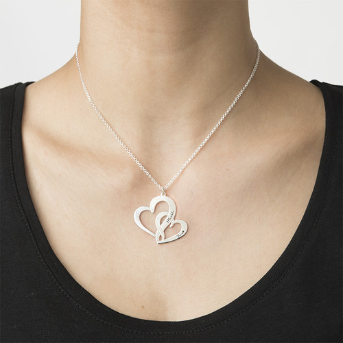 Intertwined Hearts Necklace with Engraving - 1