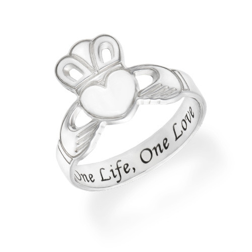 Irish Claddagh Ring with Engraving
