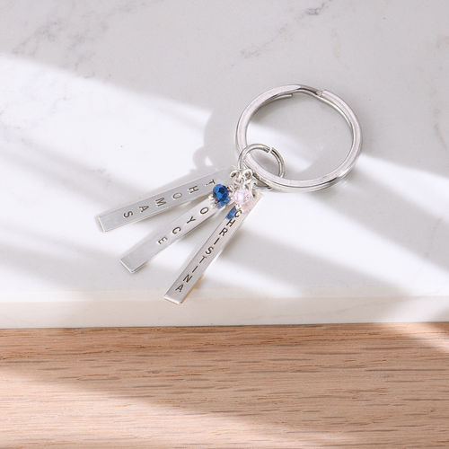 Grandma Keychain with Personalized Birthstone Bars - 1