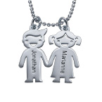 Kids Holding Hands Charms Necklace