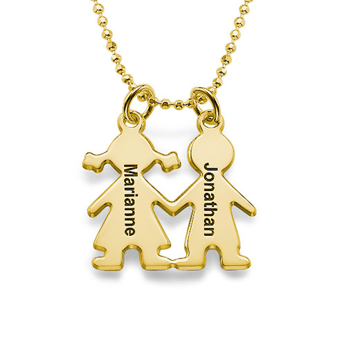 Kids Holding Hands Charms Necklace Gold Plated