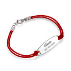 Kids ID Bracelet with Leather Cord Chain
