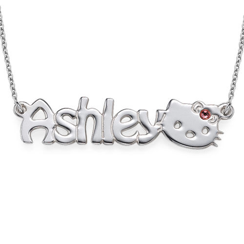 Cute Kitten Name Necklace for Girls