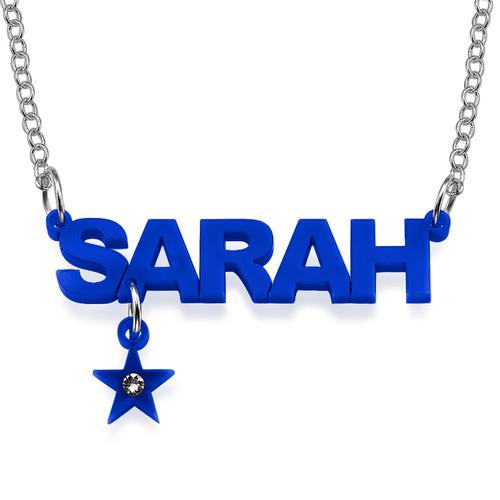 L.A. Style Color Name Necklace with Charm - 1