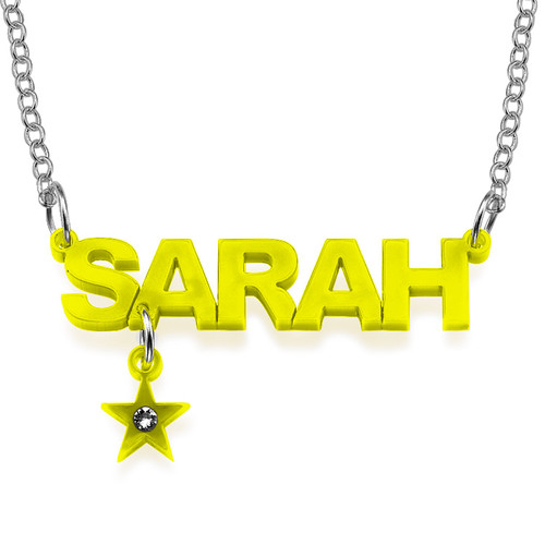 L.A. Style Color Name Necklace with Charm - 2