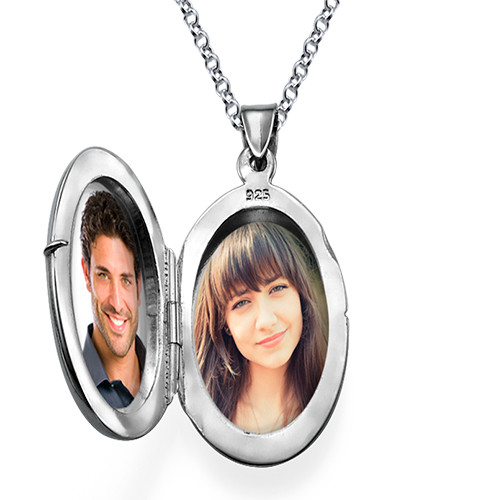 Large Engraved Locket in Sterling Silver - 2