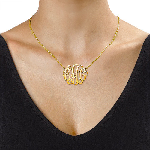 Large Monogram Necklace in 18k Gold Plating - 1