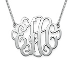 Large Monogram Necklace in Sterling Silver
