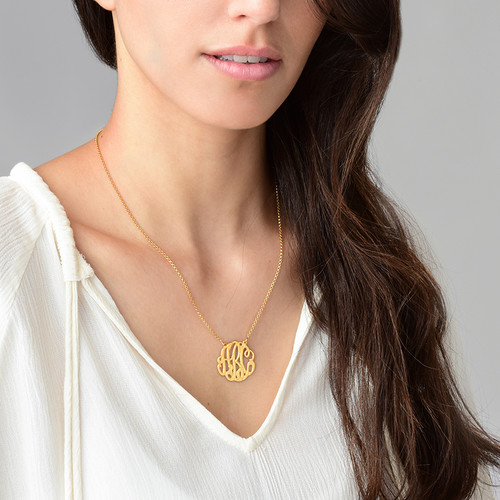 Large Monogram Necklace with Gold Plating - Round Design - 2