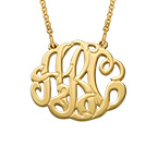 Large Monogram Necklace with Gold Plating - Round Design