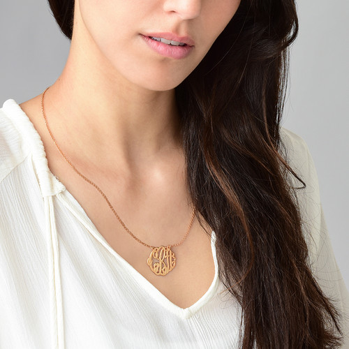 Large Monogram Necklace with Rose Gold Plating - Round Design - 2
