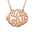 Large Monogram Necklace with Rose Gold Plating - Round Design