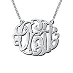 Large Silver Monogram Necklace - Round Design