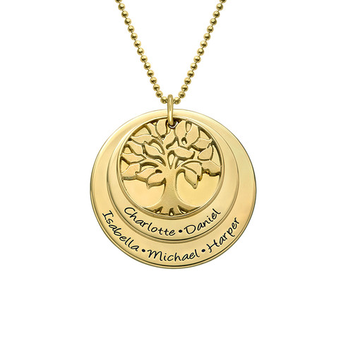 Layered Family Tree Necklace With Gold Plating