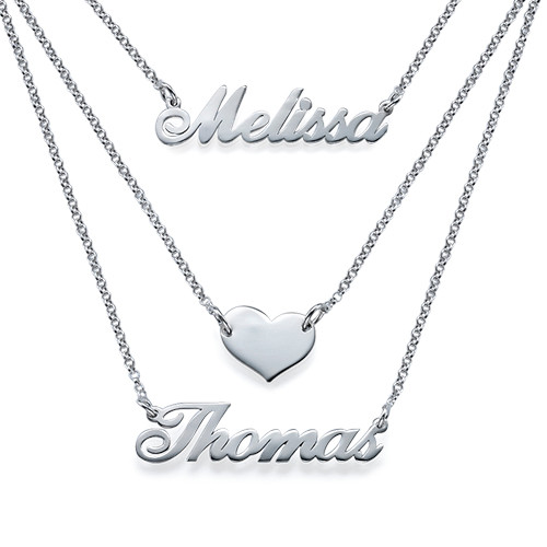 Layered Name Necklace In Sterling Silver Mynamenecklace