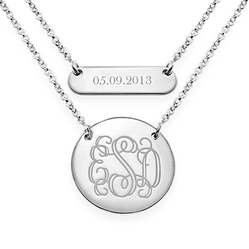 Layered Silver Necklace - Bar and Monogram Disc