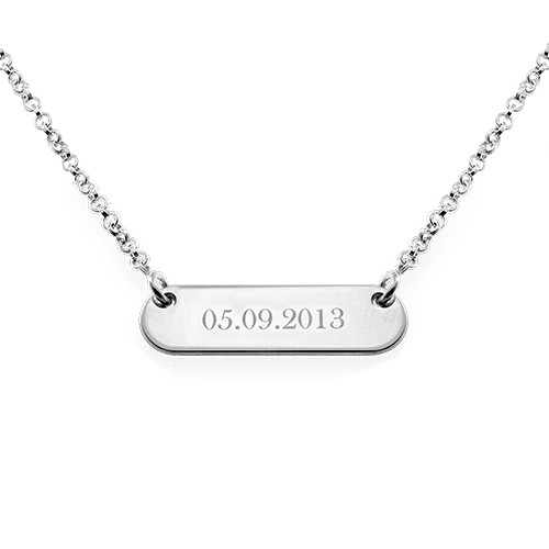 Layered Silver Necklace - Bar and Monogram Disc - 1