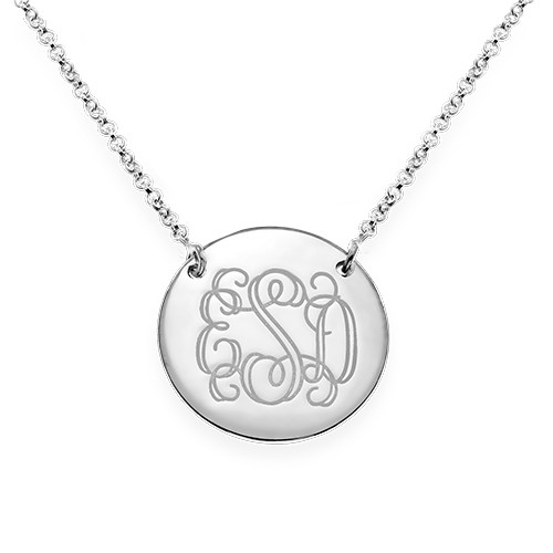 Layered Silver Necklace - Bar and Monogram Disc - 2