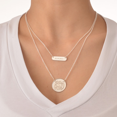 Layered Silver Necklace - Bar and Monogram Disc - 3