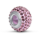 Light Amethyst Birthstone Bead with Cubic Zirconia