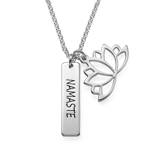 Lotus Flower Necklace with Personalized Bar in Silver